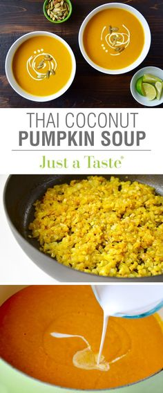 Thai Coconut Pumpkin Soup recipe via http://justataste.com | Add a Thai twist to a holiday favorite with this healthy soup!