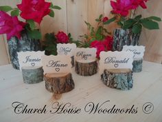 12 rustic place card holders tree card by ChurchHouseWoodworks, $12.95
