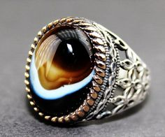 Sterling silver and bronze ring, agate natural stone https://www.etsy.com/uk/shop/FalconJewelry?ref=l2-shopheader-name