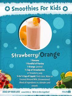 Smoothie for Kids! #Banana #Parsley #Orange #Strawberries #Coconut/AlmondMilk