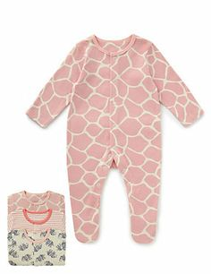 Pink Mix 3 Pack Pure Cotton Assorted Sleepsuits