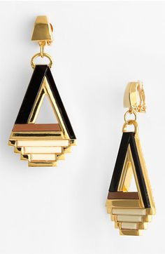 Tory Burch 'Floyd' Statement Clip Earrings. They are clip ons but I DONT CARE. #ToryBurchAddict