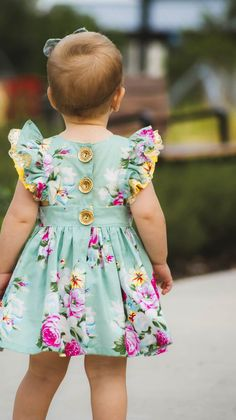Adorable Baby Girls Spanish Romany Navy Blue Pink Floral Dress  Set 3-36Months