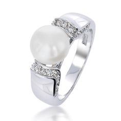 Bling Jewelry Art Deco Style Freshwater Cultured Pearl Pave CZ Ring Rhodium Plated >>> Check this awesome product by going to the link at the image. Art Deco Jewelry, Bling Jewelry, Crystal Jewelry, Jewelry Rings, Jewellery, Pearl And Diamond Ring, Diamond Art, Pearl Rings, Love Ring