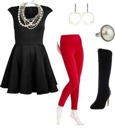 Red Corduroy Leggings Outfit - No Nonsense .... Minus the boots. Dress and leggings are cute!