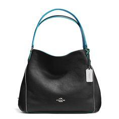 COACH Edie 31 Edgestain Pebbled Leather Handbag Black Tricolor NWT 37721 350 #Coach #ShoulderBag