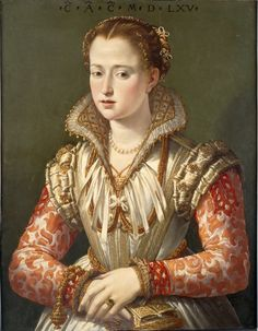 "Portrait of a Young Woman ""C A C,"" dated 1565, attributed to Scipione Pulzone, Italian, 1540/42–1598, oil on wood panel, 7 1/2 x 21 3/8 in., Samuel H. Kress Collection, 61.153"