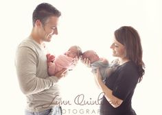 Both Parents with Twin Newborn Baby Boy and Girl