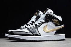 """a9906f01fdb 2019 Air Jordan 1 Mid Patent """"Black Gold"""" 852542-007 Jordan 1 Mid"""