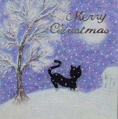 #Cat Christmas Card: Cat Card, #Christmas, #purple Christmas Card, Black Cat Snow £2.00