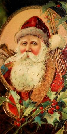 Vintage Santa Christmas Card with Orange Background Vintage Christmas Images, Victorian Christmas, Vintage Christmas Ornaments, Christmas Crafts, Christmas Postcards, Primitive Christmas, Retro Christmas, Country Christmas, Christmas Snowman