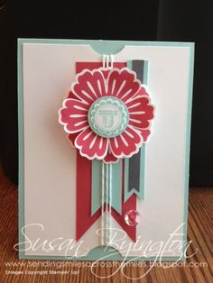 "Simple card made with Stampin' Up! A Round Array stamp set and matching 7/8"" Scallop Circle Punch.  Also used were the Mixed Bunch stamp set and matching Blossom Punch."