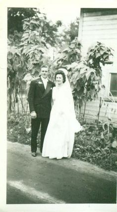 Vintage 1930s Wedding Photograph Bride Groom Standing on Dirt Road In Front Of Sunflowers White House Garden Photo. $4.99, via Etsy.