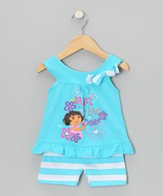 Take a look at this Blue 'Dora' Yoke Top & Stripe Shorts - Infant by Dora the Explorer on #zulily today!