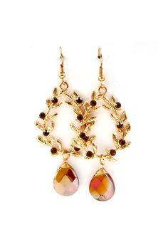 Crystal Laurel Earrings in Amber