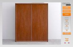 Ahora podemos ver el armario de 2 puertas correderas que tenemos el cual nos lo presentan con las puertas lisas ya que tiene que entrar con algunas, pero si clicamos en puertas nos va a enseñar todas las opciones que podemos poner ya que estas no me gustan mucho vamos a ver que opciones nos da el configurador.