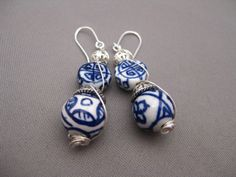 Blue Willow Type Ceramic Wire Wrapped Earrings Romantic by Banba, $22.00