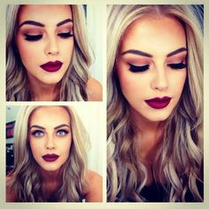 not a fan of the heavy eye makeup but I love the dark velvet lips and hair!