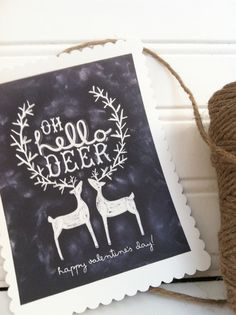 Digital Oh, Hello Deer DIY Chalk Valentines Day Card . $12.00, via Etsy.