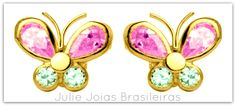 Brincos em ouro 750/18k,ametista e topázio (750/18k gold earrings with amethyst and topaz)
