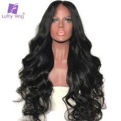 153.45$  Buy here - Luffy Natural Color Body Wave Indian Non Remy Human Hair Full Lace Wigs For Black Women With Baby Hair High Ponytail 130 Density   #bestbuy