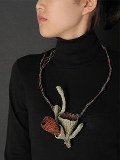 Necklace | Heejoo Kim. Enameled copper, leather and thread