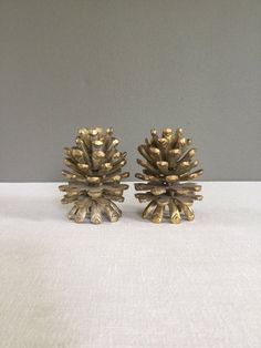 Pair of Mid-Century Brass Pine Cone Candlestick by CommodityMOD