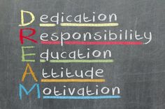 Free art print of Dedication, responsibility, education, attitude, motivation - DREAM acronym explained on blackboard with color sticky notes and white chalk handwriting. Education Quotes For Teachers, Quotes For Students, Education College, Quotes For Kids, Special Education, Elementary Science, Elementary Education, Motivational Pictures, Inspirational Quotes