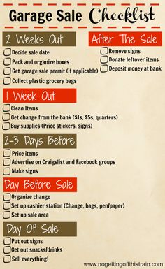 24 Tips For a Successful Garage Sale - No Getting Off This Train Here's a handy timeline checklist of what to do before, during, and after your garage sale! Garage Sale Signs, Garage Sale Pricing, Yard Sale Signs, For Sale Sign, Garage Sale Organization, Rummage Sale, Train, Good To Know, Budgeting