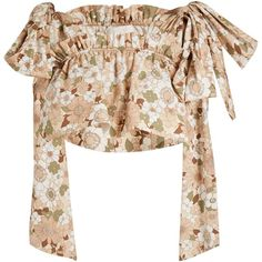Chloé Floral-print ruffled cotton cropped top (€745) ❤ liked on Polyvore featuring tops, chloe, crop top, floral tops, bow crop top, flutter-sleeve top and cotton crop top