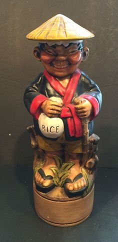 RARE Vintage Ceramic Sake Decanter Ceramic Figure of An Asian Rice Farmer | eBay