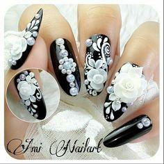 ❤Black and White❤ Ga bisa ikutan bnw di 😢😭 Lace Nails, Rhinestone Nails, Bling Nails, Flower Nails, 3d Acrylic Nails, 3d Nail Art, 3d Nails, Art 3d, Beautiful Nail Designs