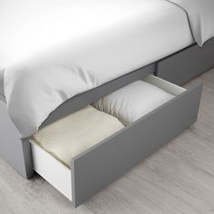 IKEA - MALM, High bed storage boxes, gray stained, The 4 large drawers on casters give you an extra storage space under the bed. Adjustable bed sides allow you to use mattresses of different thicknesses. Slatted bed base and mattress sold separately. High Bed Frame, Malm Bed Frame, Bed Frames, Under Bed Storage, Storage Boxes, Storage Spaces, Extra Storage, Ikea Storage, Record Storage