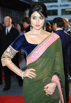 #Shriya #Saran Style Olive Green Bollywood Saree