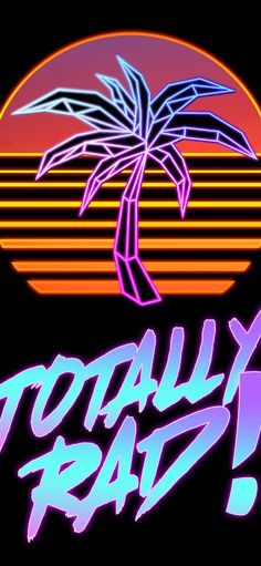 80s inspired palm tree and sunset. Totally Rad