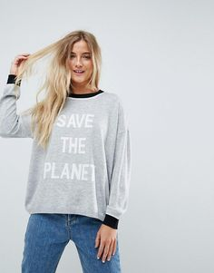 ASOS Eco Sweater with 'Save The Planet' Slogan - Gray