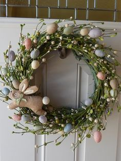 Spring Wreath Easter Wreath Egg Wreath by BlueHouseDesignz