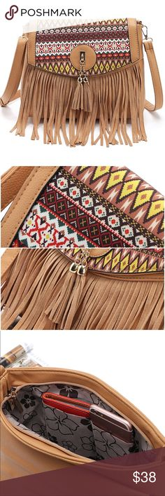 "Tribal Fringe Tassel Large Hobo Messenger Purse Very cute and roomy, high quality tan handbag ordained with beautiful tribal fabric and fringe and tassels for optimal fun.   14"" across and 9 3/4"" tall (13"" tall including dangling fringe accent).  Includes both snap and zipper closures.  Inside the nice, wide opening, you will find one large zipper pocket across one side and 2 cell phone pouches on the other.  The back features a sleek zipper pocket as well.  3/4"" wide strap adjusts up to…"