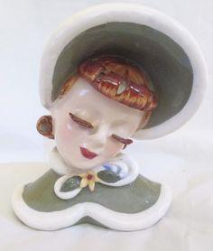 Lefton Ginger Lady Head Vase Vintage 5.75 Inch Headvase Wall Pocket Green Winter #Lefton