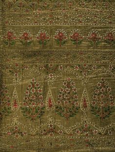 Dopatta of gold tissue embroidered with tinsel and coloured metal foil. Hyderabad India 1880