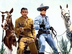 The Lone Ranger: A Western icon. Clayton Moore as the Lone Ranger and Jay Silverheels as his faithful companion, Tonto. Tv Westerns, The Lone Ranger, Western Movies, Western Film, Western Art, Old Tv Shows, Le Far West, Tough Guy, Classic Tv