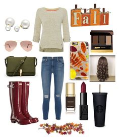"""""""Untitled #104"""" by sara-elizabeth-leonard on Polyvore featuring Frame Denim, White Stuff, Hunter, Elizabeth and James, Ray-Ban, Allurez, Nearly Natural, Casetify, Tom Ford and Dolce&Gabbana"""