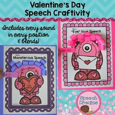 Super fun Valentine's Day Craft for articulation, language or any speech goal.  What a fun way to practice your speech words and make a super cute Valentine's monster craftivity.  You have two different monsters to choose from.  Every sound in every position plus blends are included.