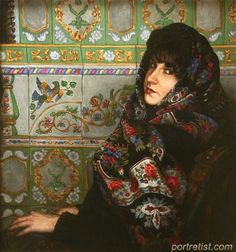 Womans Portrain In The Russian Shawl Russian Painting Russian Art Russian Style