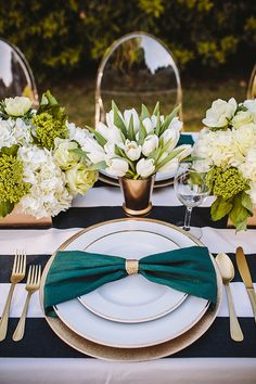 Emerald and Bronze Place Setting | Anna Delores Photography | Stripes and Sequins - Preppy Kate Spade Styled Wedding