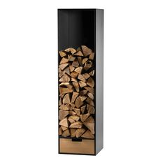 The wood storage stand has a stable frame of heavy black HPL and provides sufficient depth for logs. In the wood box in the base there is practical storage place for paper and firelighters. The shelf is m high, 50 cm wide, and 50 cm deep. It weighs 48 kg. Indoor Firewood Rack, Firewood Holder, Firewood Storage, Wood Pergola, Diy Pergola, Pergola Kits, Small Pergola, Wood Crates, Wood Boxes
