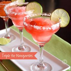 Triple the Margaritas - This trio of fresh, fruity margaritas is perfect for Cinco de Mayo or any backyard bash. www.tastefullysimple.com/web/kstockwell