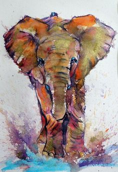 View Kovacs Anna Brigitta's Artwork on Saatchi Art. Find art for sale at great prices from artists including Paintings, Photography, Sculpture, and Prints by Top Emerging Artists like Kovacs Anna Brigitta. Watercolor Art Paintings, Watercolor Projects, Animal Paintings, Original Paintings, Elephant Art, Rainbow Art, African Animals, Gold Paint, Art Techniques