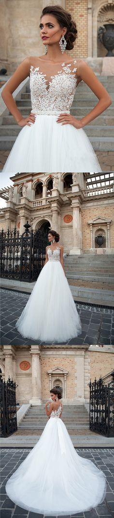 vintage lace sheer back illusion neckline ball gown tulle wedding dress