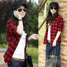 Women Button Cotton Casual Lapel Shirt Plaids Checks Flannel Shirt Top Blouse